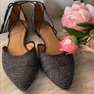 Jack Rogers sparkle Camille glitter lace up flats